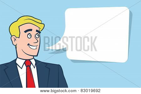 Happy smiling businessman looking away with empty text bubble on blue background