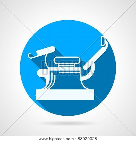 Round blue vector icon for gynecology chair