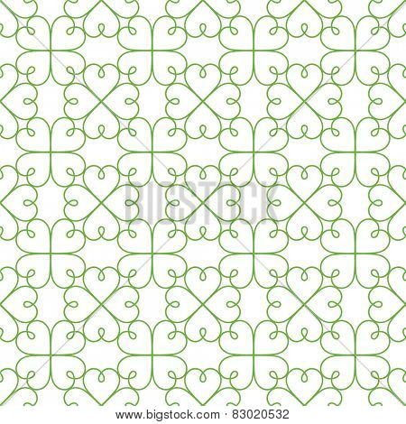 Repeating vector green clovers pattern