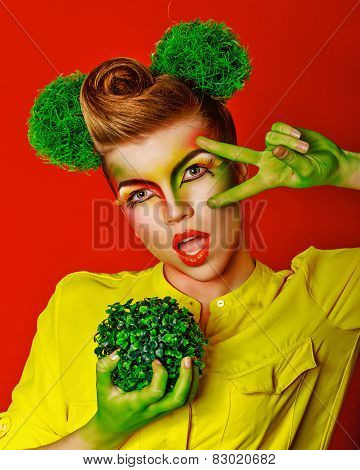 Girl with make-up broccoli