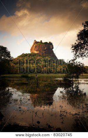 Vintage photo of Sigiriya Lion Rock Fortress in Sri Lanka