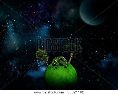Surreal Space background with large trees on grassy globe