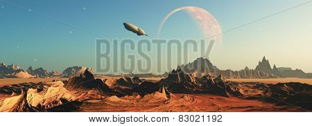 3D render of a fictional space scene with a space ship flying towards a planet
