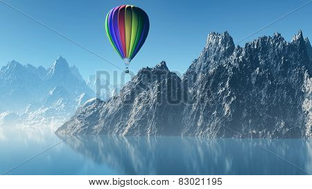 3D render of a hot air balloon floating over high mountains