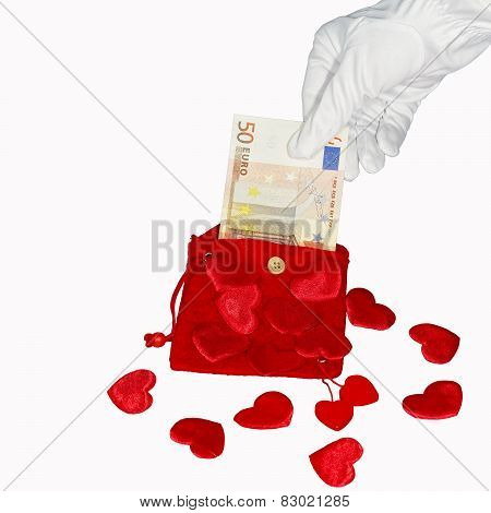 Red Purse With Fifty Euro Banknote And Hearts