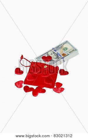 Red Purse With Red Hearts And One Hundred Dollar Banknotes