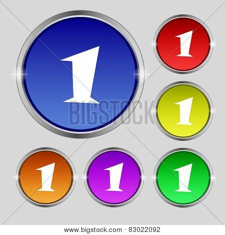 First Place Award Sign. Winner Symbol. Step One. Set Of Coloured Buttons. Vector