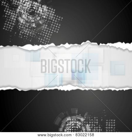 Grunge technical background with ragged edge paper. Vector design
