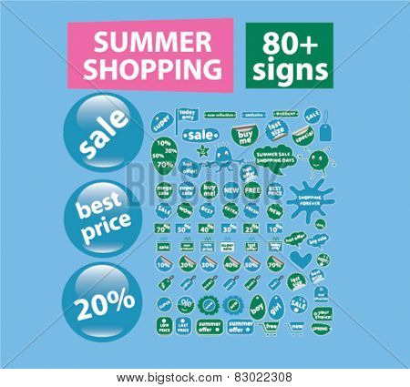 summer shopping, sale, store concept - flat isolated icons, signs, illustrations set, vector