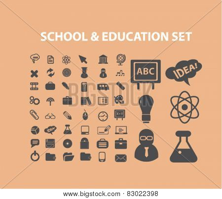 school, education, study concept - flat isolated icons, signs, illustrations set, vector