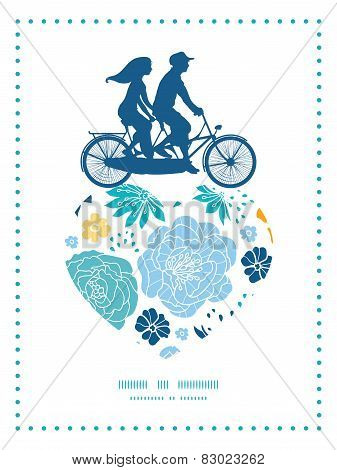Vector blue and yellow flowersilhouettes couple on tandem bicycle heart silhouette frame pattern gre