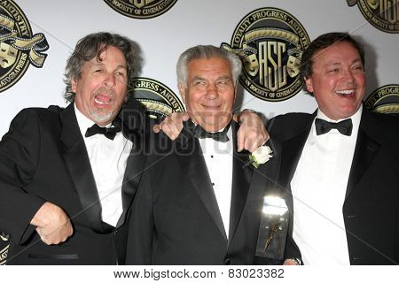 LOS ANGELES - FEB 15:  Peter Farrelly, Matthew Leonetti, Bobby Farrelly at the 2015 American Society of Cinematographers Awards at a Century Plaza Hotel on February 15, 2015 in Century City, CA