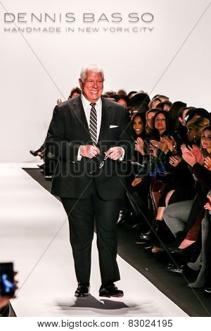 NEW YORK - FEBRUARY 16: A designer Dennis Basso walks the runway at the Dennis Basso Fall/Winter 2015 collection during Mercedes-Benz Fashion Week in New York on February 16, 2015.