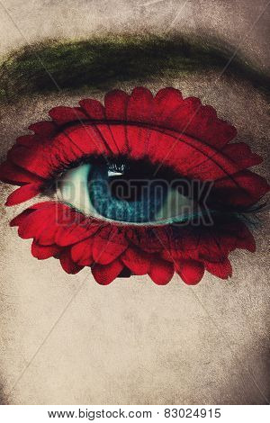 closeup of woman blue eye with red flower added around eye as well as texture, composite photo