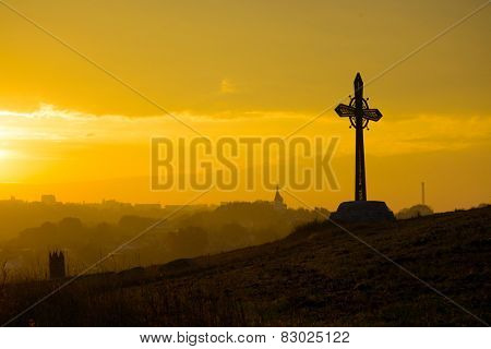 Cross on the Rock in the Ancient City of Kamyanets-Podilsky, Ukraine