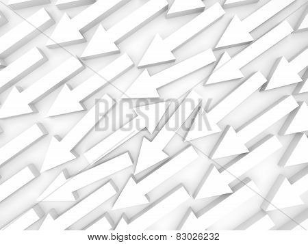 Abstract 3D Illustration, One White Arrow Goes Opposite