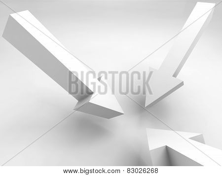 Three Arrow Signs Mark One Position, 3D Render