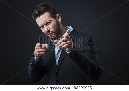 Stylish Man Pointing Fingers