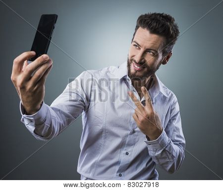 Cool Man Taking A Selfie