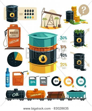 Oil Production. Infographic elements. Vector illustration.