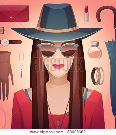 A girl and an accessories. Vector illustration.