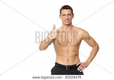Man shirtless shows thumb up sign
