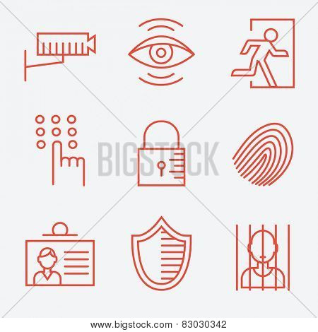Security icons, thin line style, flat design