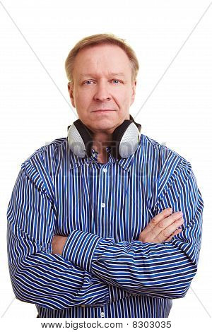 Man With Headphones Around His Neck