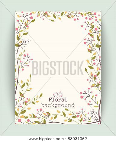 Retro beautiful flower banner