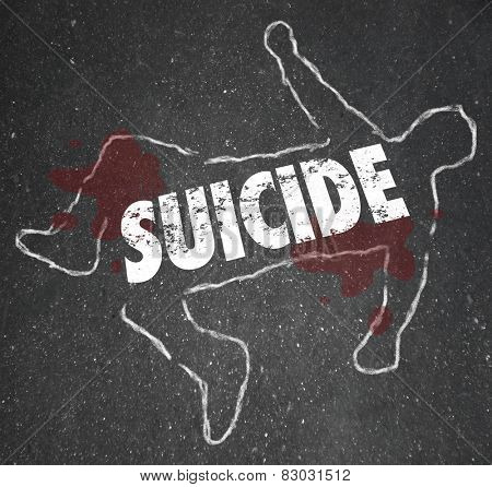 Suicide word written on a chalk outline of a dead body, a person who ended his life out of depression and wanting to end living
