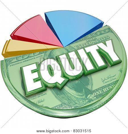 Equity word on a pie chart to illustrate stock balance investment account for amount owed or due in ownership