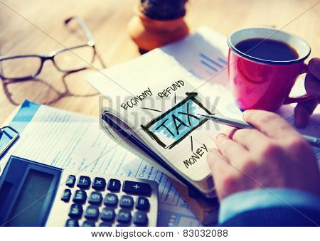 Businessman Tax Economy Refund Money Concept