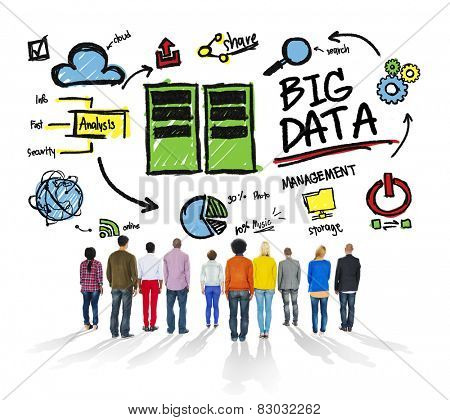 Ethnicity Cheerful Group Big Data Information Data Center Concept