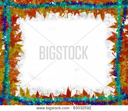 Colorful Leaves [maple] with little stars Border frame on white