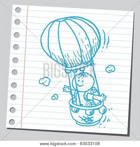 Schoolkid in air balloon