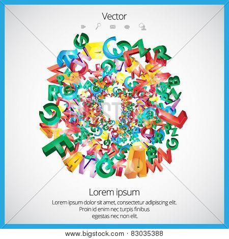 Glow alphabet. Vector.