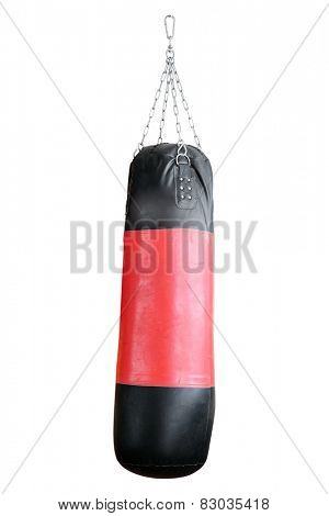 Punching bag for boxing isolated on white background