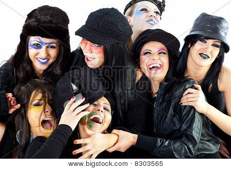 Girls Halloween Witches Laughing