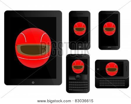 Mobile Devices With Racing Helmet Black