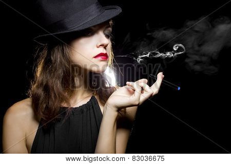 Woman Vaping Smoking Alternative