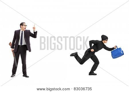 Businessman with a rifle chasing a thief isolated on white background