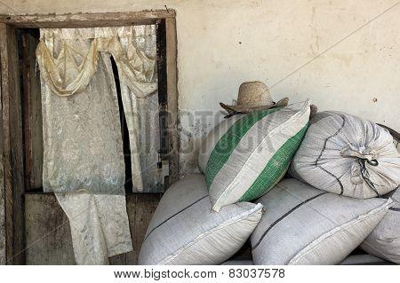Straw Hat With Rustic Door