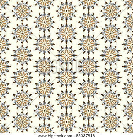 Brown Abstract Blossom And Arrow Shape Seamless Pattern