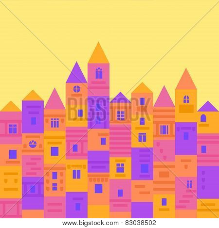 Colorful and cute medieval town from building blocks, flat design vector illustration