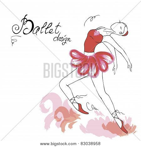 Ballet Dancer, drawing in watercolor style