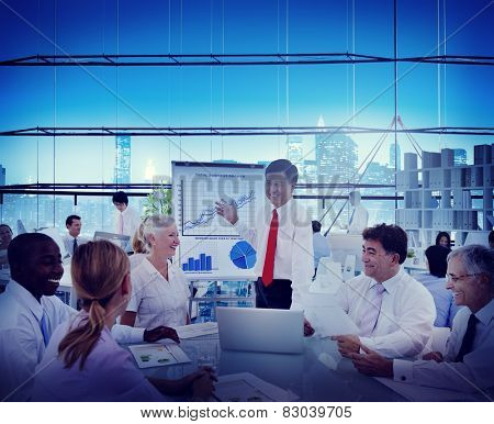 Business People Progress Growth Meeting Leader Discussion Concept