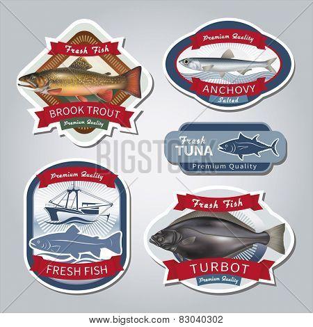 Fish labels set 5. Vector eps 10.
