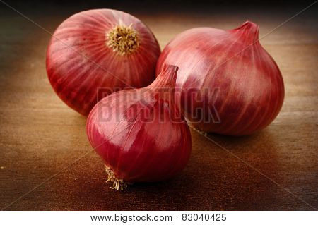 Shallot Onion On Wooden Background