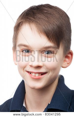 Cheerful kid smiling on white background