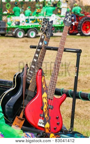 Bright Red Guitar on Parade Float